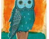 Owl in Blue three sizes fine art print - a Sweet William illustration on archival paper. Small and Medium size