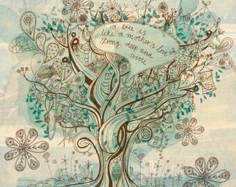 A Mother's Love Wall art print - tree illustration