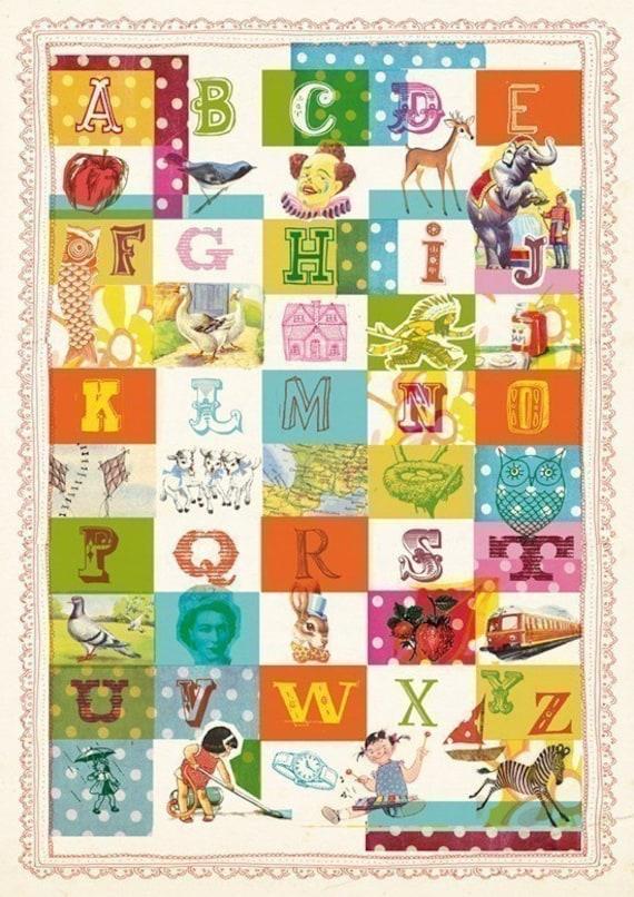 Vintage alphabet- A4 fine art print - a Sweet William illustration on archival paper.
