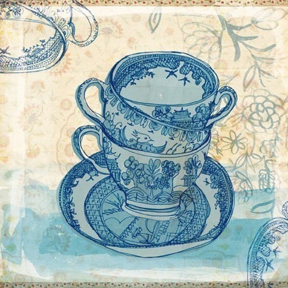 blue willow pattern tea cups