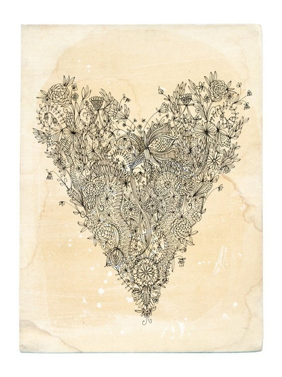 Love Heart - Archival quality Wall art print  botanical line illustration