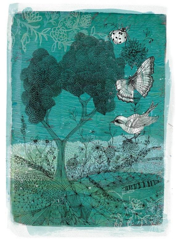 Wilderness Wall Art Print botanical illustration