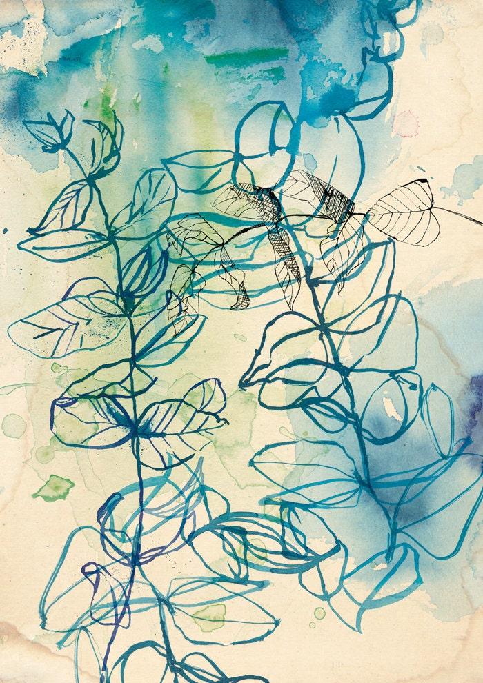 Drawing Line Quality : Blue wash leaf wall art print botanical