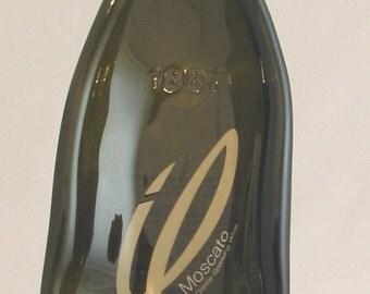 Moscato bottle spoonrest or dish - painted label bottle - elegant bottle - green gray bottle - melted bottle