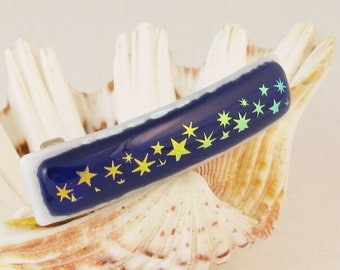"Dichroic Stars on royal blue - fused glass barrette - French barrette  - star barrette - dichroic barrette -3"" (4518)"