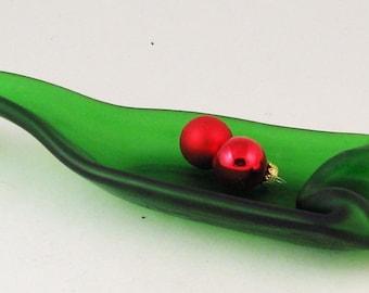 Vintage green pop bottle spoonrest or dish - green melted bottle - frosted bottle - Christmas bottle