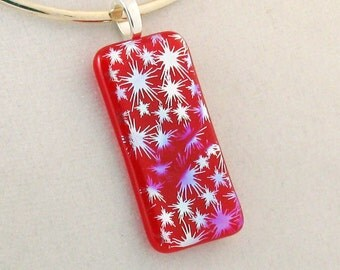 Independance Day pendant - Starbursts on RED -  Dichroic jewelry - Patriotic jewelry - Red and Silver  (2800)
