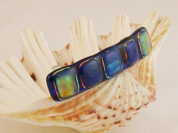 "Royal blue dichroic fused glass barrette - french barrette - 3.5"""