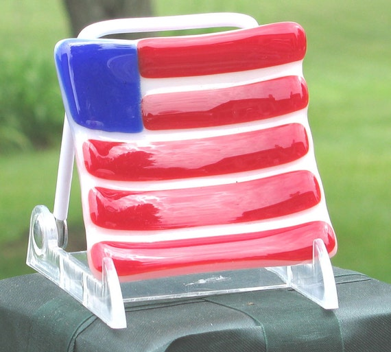 Red White and Blue fused glass Flag dish - American Flag - patriotic dish