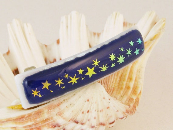 """Dichroic Stars on royal blue - fused glass barrette - French barrette  - star barrette - dichroic barrette -3"""" (4518)"""