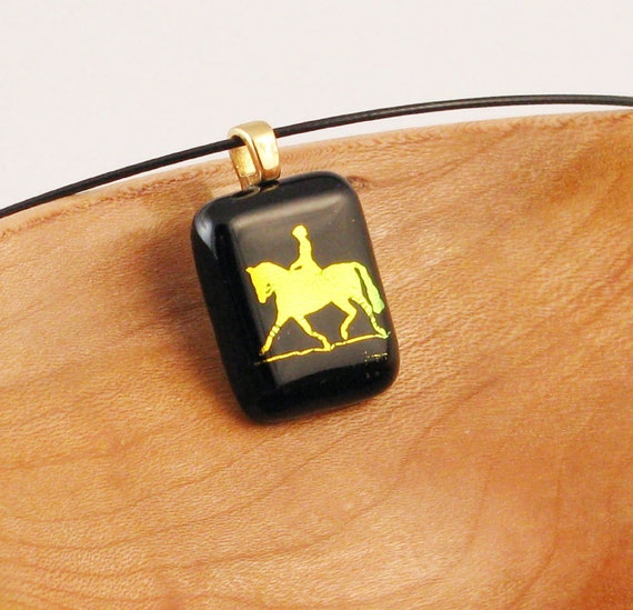 Dressage Horse pendant - gold horse necklace - Gold and black slide (3407)