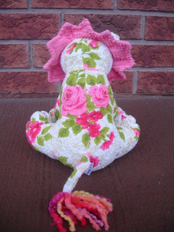 Stuffed Lion plush  -  Floral pink terry 100% cotton