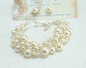 Pearly Girly Bracelet with Crystals and Stud Earring Set