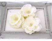 Bridal Set of Three Ivory Hair Flowers with Swarovski Pearl Cluster