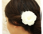 Ivory Wedding Hair Flower Fascinator with Pearl Center and a touch of feathers
