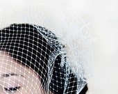 Birdcage Veil Double Layer Ivory or White Russian Netting