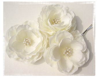 Bridal Ivory Hair Flower Set of Three by Virginiageigerjewels