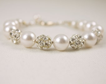 Pearl and Rhinestone bracelet 8mm Swarovski Crystal Cream Pearls and Crystal Rhinestone Fireballs