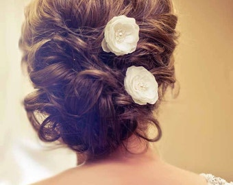 Wedding Bridal Mini Ivory Hair Flower Set of Three with Pearls and Crystals