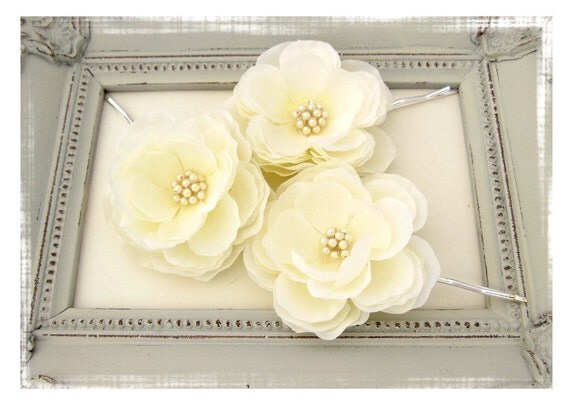 Bridal Set of Two Ivory Hair Flowers