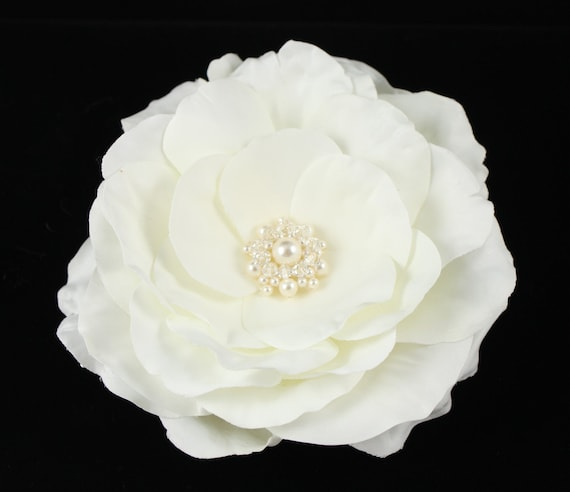 "Large Ivory Bridal Pearl and Crystal ""Whimsical"" Hair Flower"
