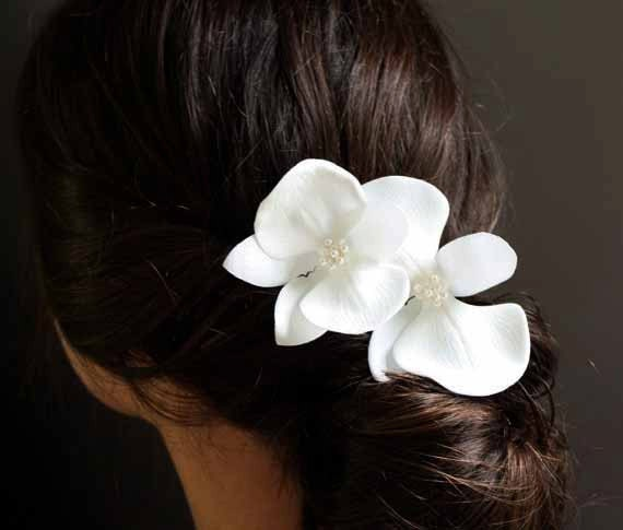 Ivory Orchid Hair Pin Set of Two