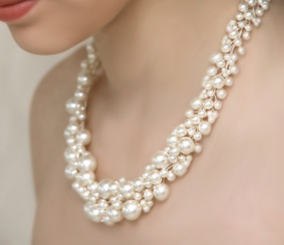 items similar to bridal pearl statement necklace and pearl