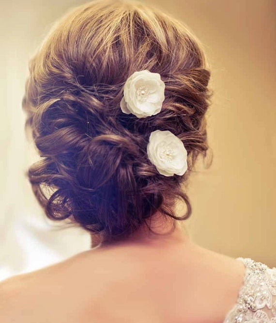 Wedding Bridal Mini Ivory Hair Flower Set of Two with Pearls and Crystals