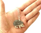 Hedgehog pendant necklace on a sterling silver chain