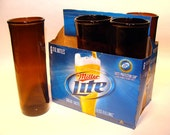 Six pack of Recycle Miller Lite Beer Bottle Drinking Glasses / American Eco Friendly / Dishwasher Safe