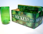 Six Pack Recycled Mickey's Wide Mouth Malt Beer bottle drinking glasses \/ Eco Friendly \/ Green