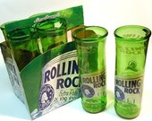Six Pack Set of Recycled Rolling Rock Beer Bottle Drinking Glass Cups