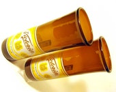 Set of Two 12 once Recycled Glass Beer Bottle Drinking Glasses / Eco Friendly / Handmade