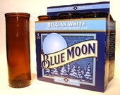 Recycled Blue Moon beer bottle Drinking Glasses / Eco Friendly / Recycled from discarded bottles