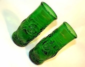Set of two Recycled Lucky Buddha Beer Bottle Drinking Glass Cups / Parties, Weddings and Gifts