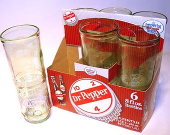 Six Pack 8 0z Recycled Dr. Pepper Soda Bottle Drinking Glasses