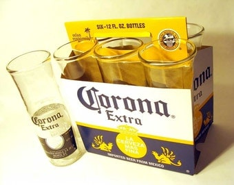 Recycled Trash / Upcycled Beer bottle Drinking Glass tumbler, Coronaz 6 pack set