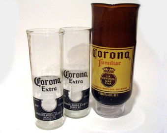 Set of Two of Recycled Corona Beer Bottle Drinking Glass Cups and a Recycled Corona  Familiar Beer Bottle Glass Pitchers