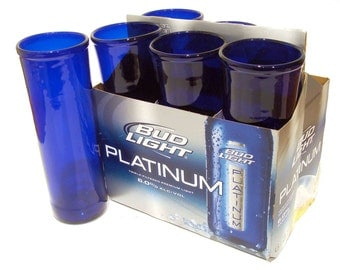 Six Pack Set of Recycled Bud Lite Platinum Beer Bottle Drinking Glass Cups