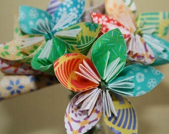Festively Funky Origami (kusudama) flowers (bouquet of 12)
