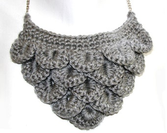 Slate Gray Dragon Scale Necklace on Silver Chain with Mineral and Bead Charm