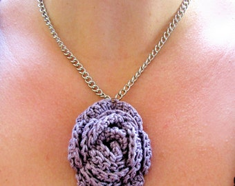 SALE Lavender Crocheted Rose on Silver Chain with Toggle Clasp