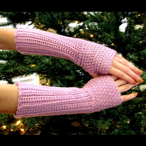 RESERVED FOR URBANSTITCHRENO-Raspberry Fingerless  Arm Warmers, Crocheted, Ribbed