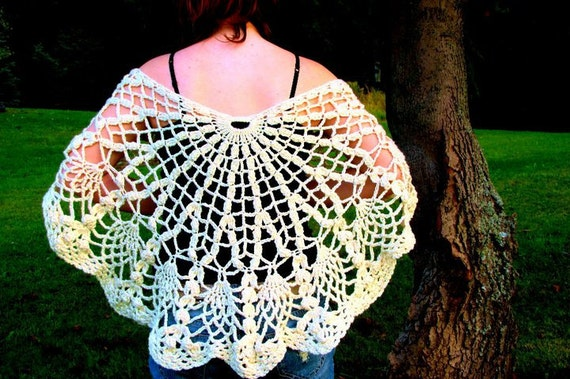 RESERVED FOR LOM Butterfly Crocheted Capelet in Cream with Wooden Button