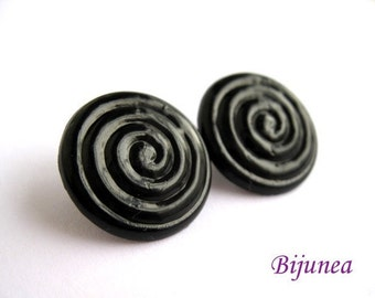 Black liquorice earrings - Liquorice studs - Liquorice black posts - Black liquorice earrings - Liquorice earrings