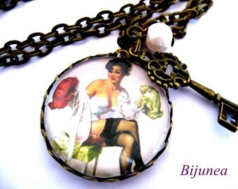 Hairdresser pin-up necklace- Pin up necklace - Key necklace  n411