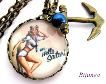 Hello sailor Pin-up necklace -Nautical necklace -  Ahoy necklace - Sailor necklace - Sailor necklace n416