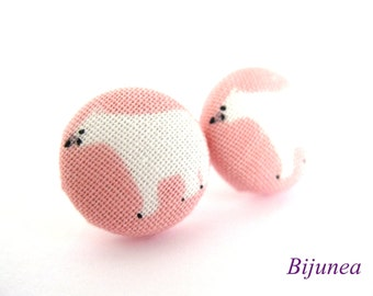 Polar bear earrings - Polar bear stud earrings - Polar bear posts - Pink polar bear studs - Polar bear post earrings sf761