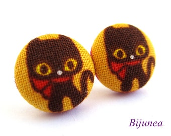 Cat earrings - Black cat stud earrings - Black cat studs - Black cat posts - Black cat post earrings sf780