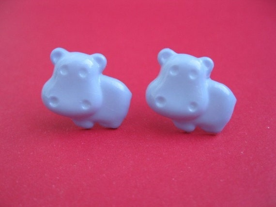 Blue hippo earrings - Hippo stud earrings - Hippo posts - Blue hippo studs - Hippo post earrings